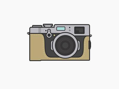 Fujifilm X100t (with case) fujifilm lc-x100s case fuji illustration camera x100t fujifilm