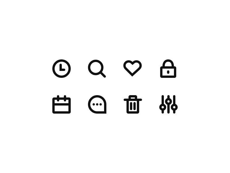 Labicons filter delete chat calendar lock heart search time glyph icons