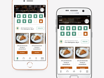 Espresso House mobile app design mobile app interface design espressohouse espresso coffee ios materialdesign android mobile ui icons