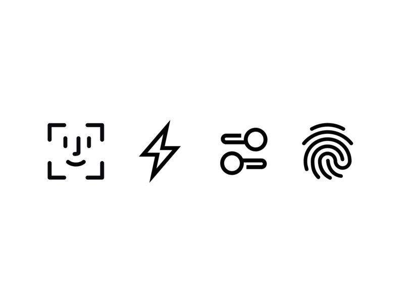 Qapital icons ui glyphs qapital lineicons fingerprint fingerid settings bolt faceid iconography icons
