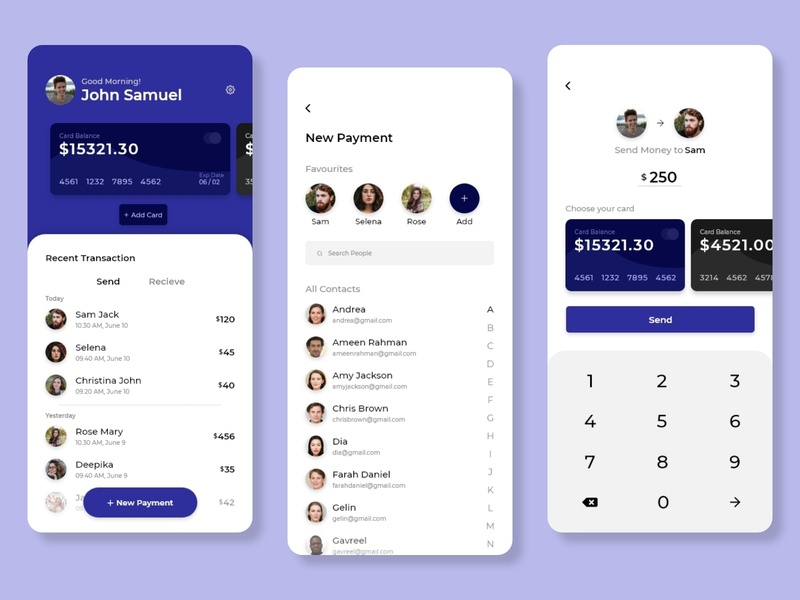 Payment App UI ux uiux ui send money search recent payment pay money transfer list ios homepage favorites design debit card creative contact cards application android