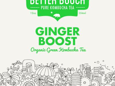 Better Booch Ginger Boost packaging illustration branding