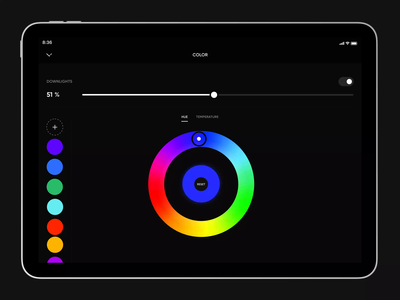 Crestron Lighting Color Picker Interaction sliders animation interaction design interaction after effects lighting smart home home automation crestron color picker ipad pro color user experience user interface app ui design ux
