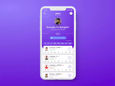 Yahoo! Fantasy Hockey for iOS product design interaction design interaction motion button mobile app sports fantasy hockey iphone 11 ios gradient color user interface app ui design ux