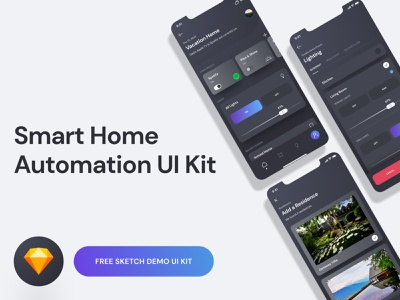 Smart Home UI Kit Demo - Free Sketch Download app design ux user interface user experience ui kit smart home sketch iphone ios interface home automation gradient freebie free download design dark clean app
