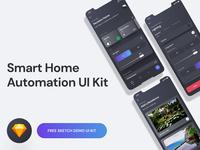 Smart Home UI Kit Demo - Free Sketch Download app design ux user interface user experience ui kit smart home sketch iphone ios interface home automation gradient freebie free download design dark clean app