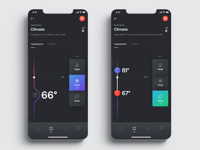 Smart Home UI Kit for iOS - Thermostat sketch mobile app thermostat crestron home automation smart home gradient clean interface user experience icon user interface app ui design ux