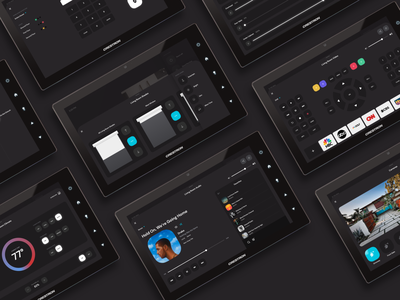 Axiom Crestron GUI for VTPro dark ui creative music player theromstat home automation smart home crestron user experience interface user interface app ui design ux