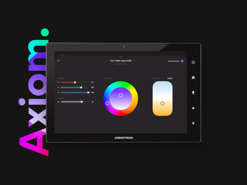 Axiom Crestron RGB Lighting UI sliders dark ui dark theme ui dark theme led color wheel color lighting crestron home automation smart home user experience user interface app ui design ux