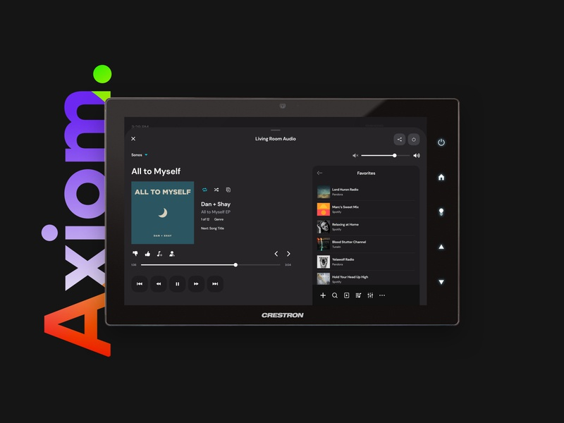 Axiom Crestron GUI - Audio color clean music player music dark theme dark ui home automation smart home crestron interface user experience app user interface ui design ux