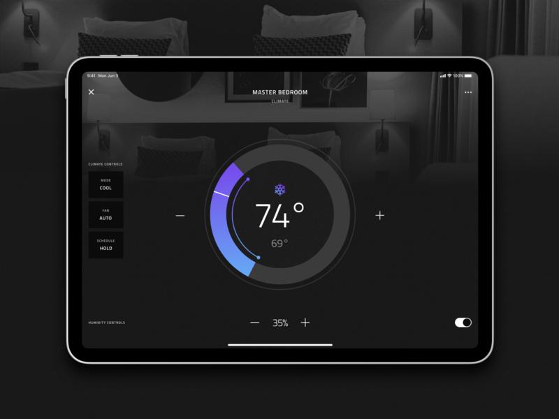 Crestron CH5 UI smart home app dark ui dark theme ui dark theme crestron ch5 crestron gui gui climate thermostat smart home crestron home automation user experience user interface app ui design ux