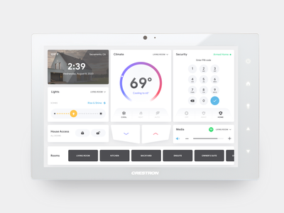 Crestron Intuitiv UI smart home app button slider thermostat light theme tablet crestron home automation smart home interface icon app user experience user interface flat ui design ux