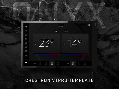 Intuitiv - Onyx VTPro Template crestron ui crestron gui crestron theme crestron template intuitiv ipad dark theme dark ui thermostat home automation smart home crestron icon user experience user interface app ui design ux
