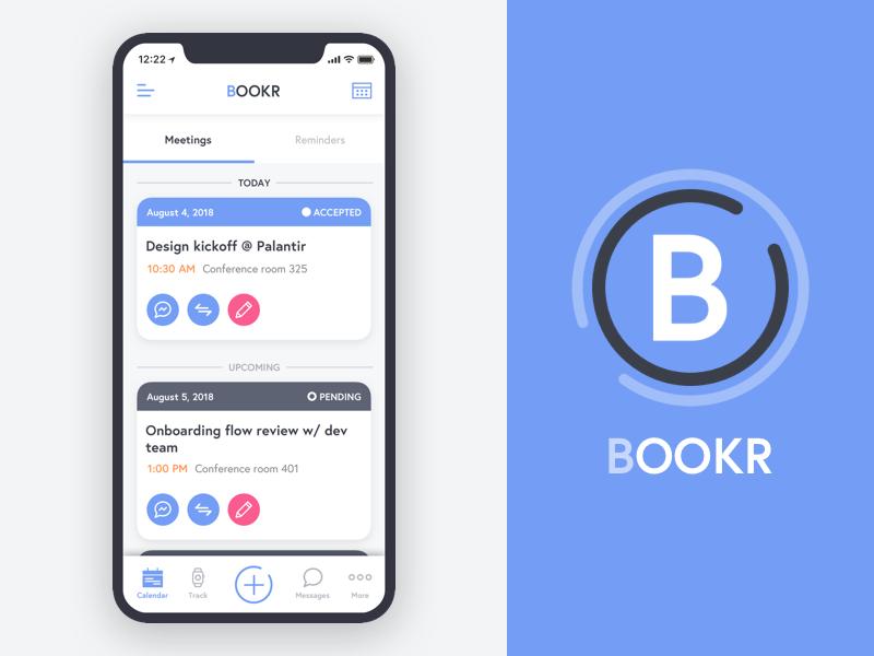 BOOKR minimal card mobile app mobile calendar iphonex ios interaction creative clean branding user experience color user interface icon app flat ui design ux