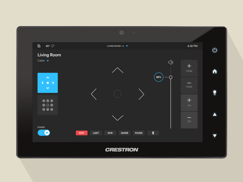 Crestron Cable Remote UI interface clean creative switch interaction smart home home automation remote user experience color icon user interface app flat ui design ux