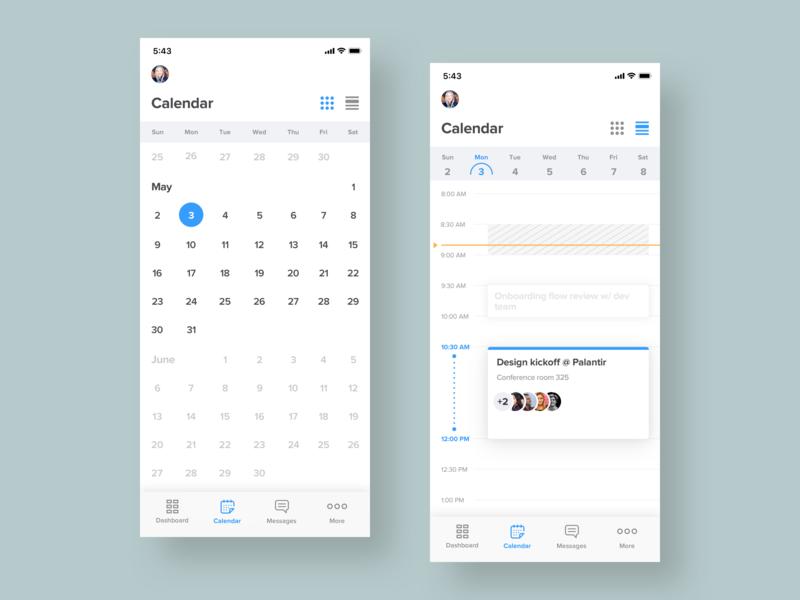 Calendar Views ui ux design app design ios calendar meeting mobile icon iphone user interface app flat color