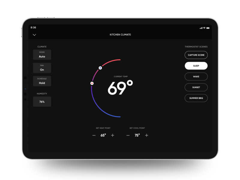 Crestron Thermostat UI home automation ios ipad pro smart home thermostat crestron user experience user interface app ui design ux