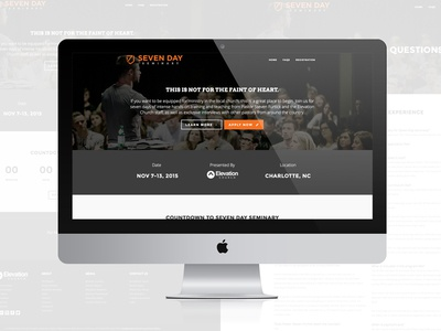 Seven Day Seminary - Digital Property web mobile elevation church ministry wordpress responsive design webdesign