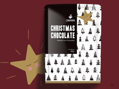 Christmas chocolate - package design beverage packaging beverage pattern design pattern christmas trees star logo vector branding xmas christmas illustration design