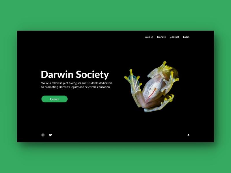 Darwin Society landing page nonprofit science organization green fullscreen index page index web design web ux design ui design black hero page minimalism modern design landing page