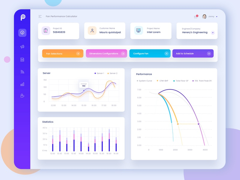 Fan Efficiency Grade Dashboard conversion performance ui design website dashboard user experience design admin graphs web clean charts analytical reports analytics uiux industrial fans calculator