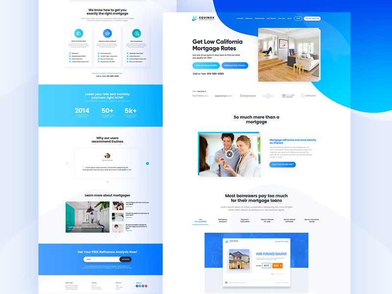 Eqninox Mortage Homepage mortgage calculator homepage ui design clean design mortgage loans analytics user experience design website seo conversion funnel leads insurance realestate mortgage eqninox