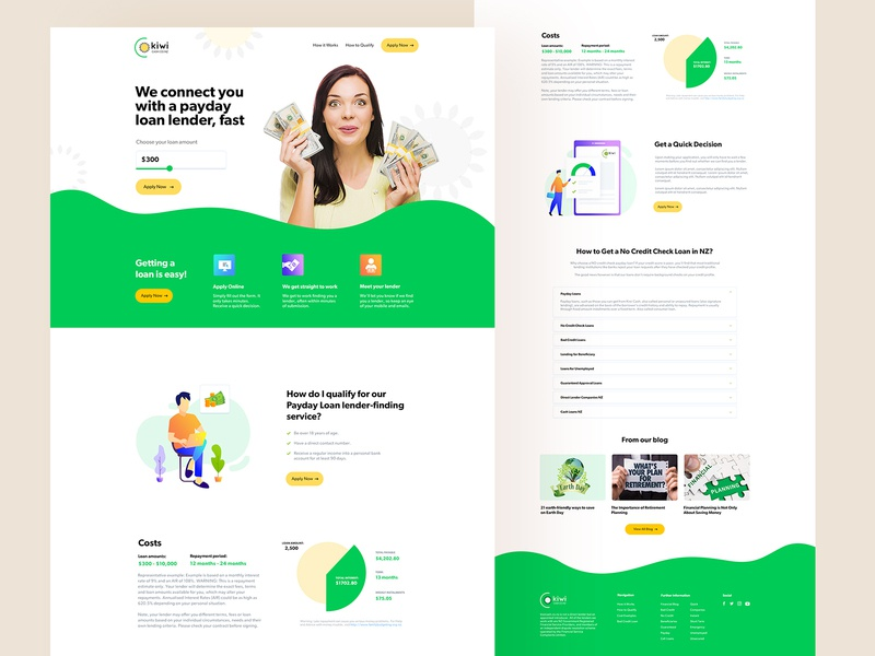 kiwicash homepage design ui design website user experience design financial services debt mortgage loan website loans brokers lender payday loans payday