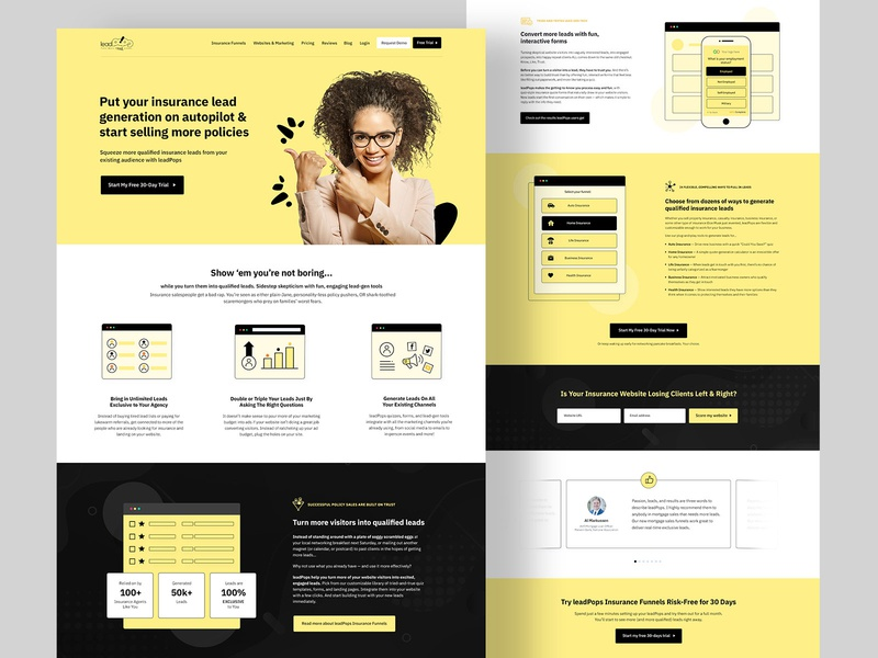 Lead Funnels Homepage Insurance Design analytics design clean seo user experience design dark homepage website debt mortgage realestate insurance conversion funnel leads