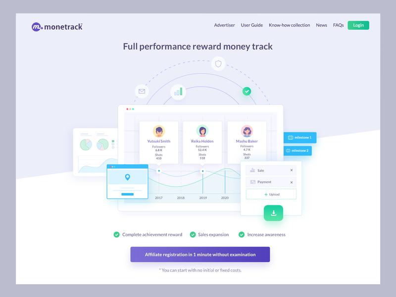 Monetrack header money clean ui design user experience design website blog agency seo conversion sale grow twitter affiliate marketing affiliate payment