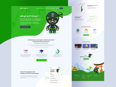 FX Dojo Homepage Design online dojo green website crypto trading cryptocurrency forex trading forex virtual currency website user experience design