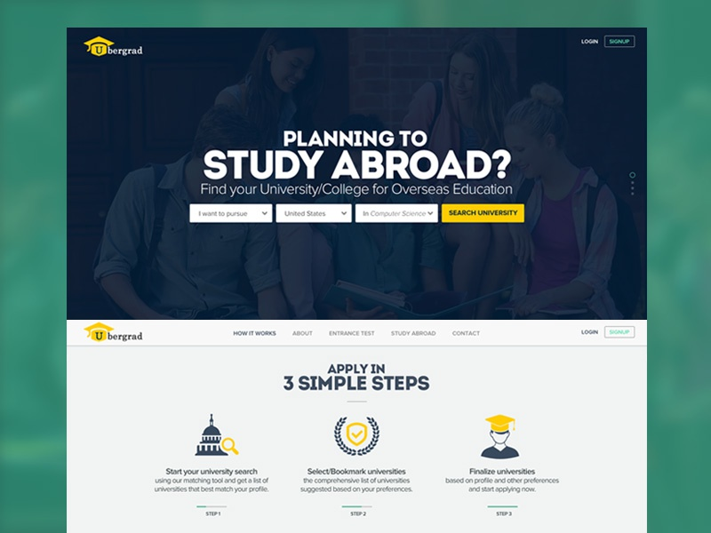 Ubergrad Website Design web design uiux user interface design ui design responsive colors website college travel university study study abroad