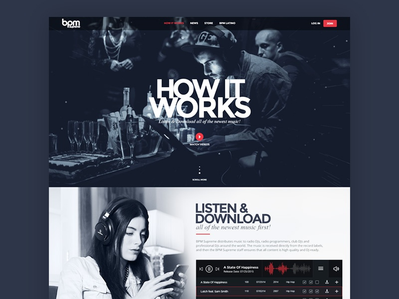 BPM Supreme: How It Works Page analytical user experience design ui design homepage website black howitworks dj music numbers kpi