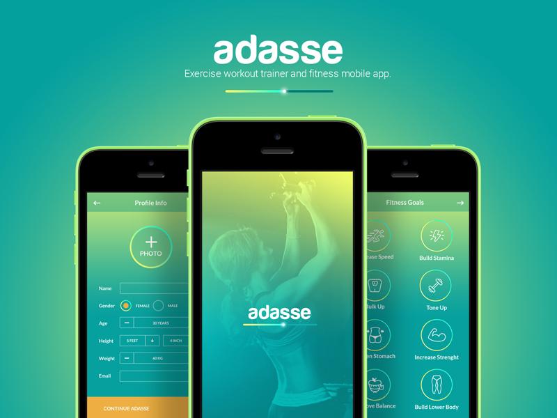 Adasse: mobile/web app design fitness workout health ui gym mobile application medical app ios mobile app design