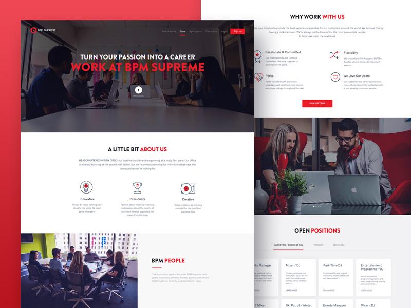 Bpm Supreme: Career Page Design song music web website flat minimal player clean radio user interface design dark