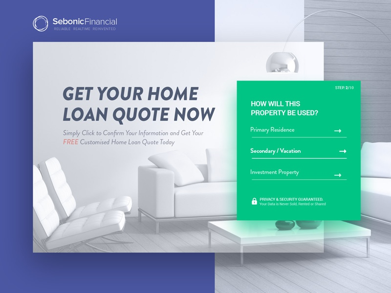 Sebonic-Financial: conversion landing page admin home simple website ui design user experience design real estate clean homepage quote landing conversion