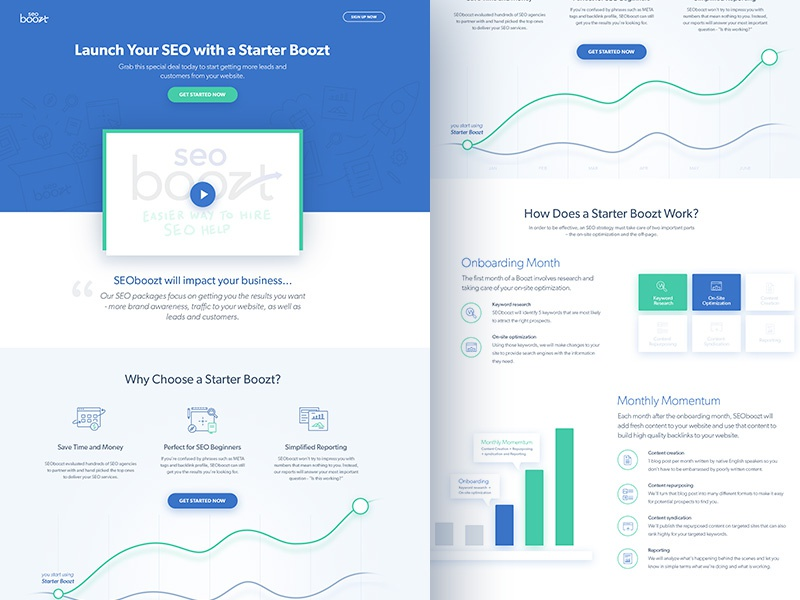 SeoBoozt- SEO conversion page user experience graphs charts conversion seo sale page website landing page ui design user interface design web web design