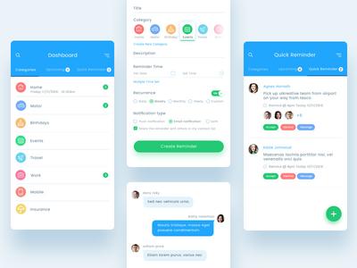 rymindr mobile app design mobile app ios app calendar application mobile chat ui reminder remind tag