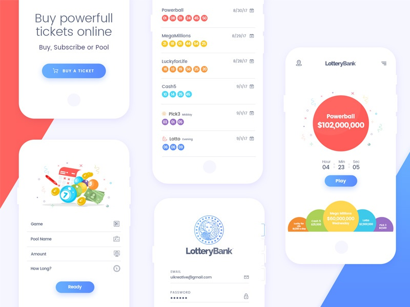 Lottery-Bank: Mobile app design by Naresh Kumar on Dribbble