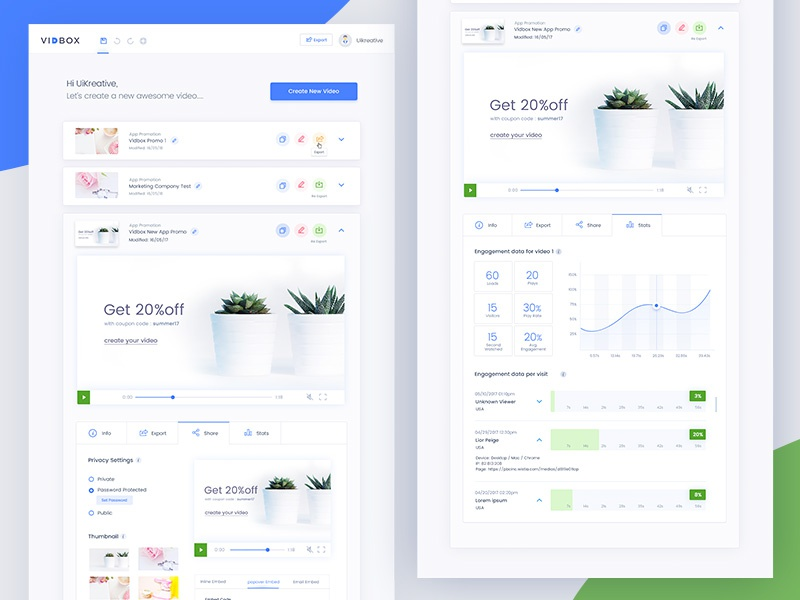 Vidbox- Dashboard advance video setting data user experience design ui design reports website clean simple charts dashboard analytics analytical admin