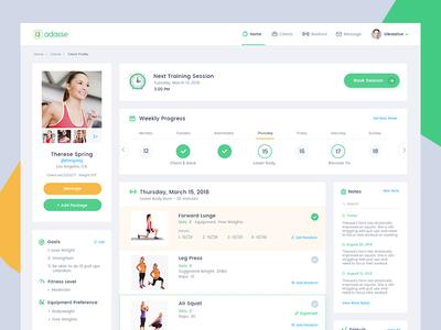 Adasse Beta 2: web app design workout app analytical charts analytics website dashboard health app workout medicals gym app app health gym
