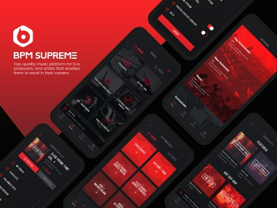 Bpm Supreme: Mobile App podcast music player player mobile black and red bpm supreme bpm android ios remixes producers dark app music source djs videos tracks record pool music dark black