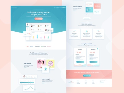 Melonstats: Homepage design concept analytical clean website followers insights analysis growth hashtags user experience design dashboard instagram landing page conversion sales sale chart analytics statics stats melonstats