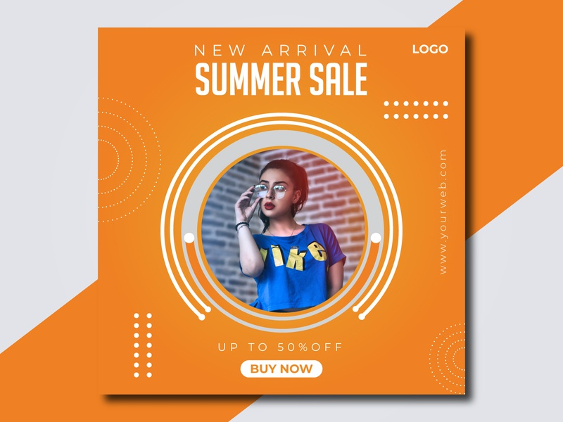 Colorful Summer sale social media post banner social media templates instagram post square website corporate trendy advertising media social layout promo discount offer fashion ads banner summer post sale