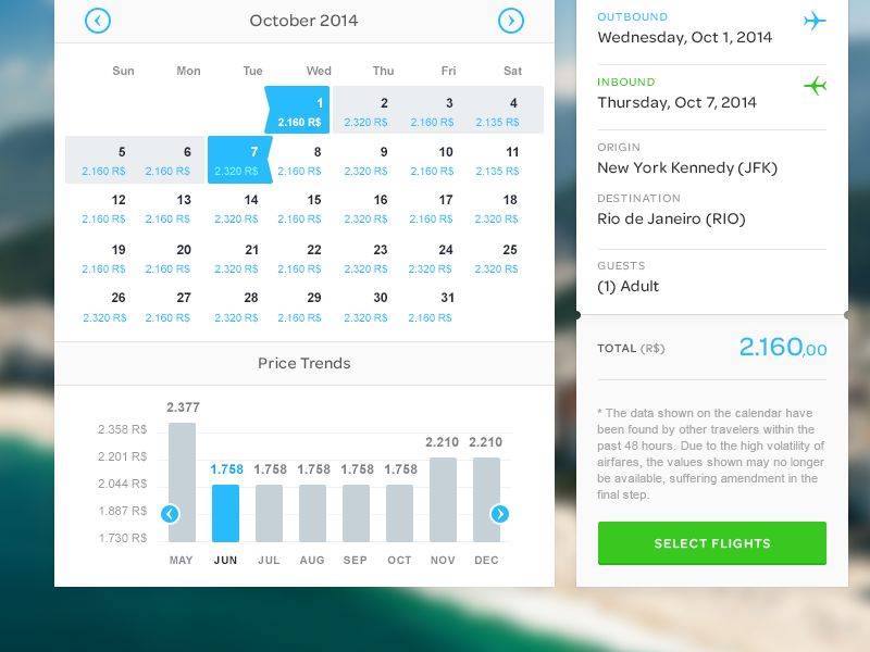travel fare calendar by marc anderson on dribbble