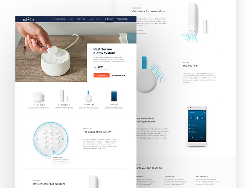 Nest with LiveWatch Monitoring - Nest Detail Page website web ui ux protect home security design product