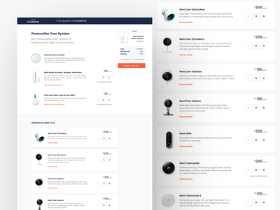 Nest with LiveWatch Monitoring - Product Selection Page website web ui ux protect home security design product
