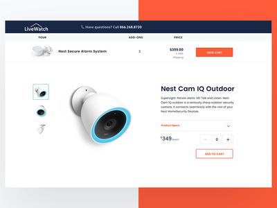Nest with LiveWatch Monitoring - Component Page website web ui ux protect home security design product