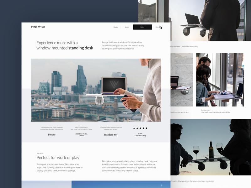 DeskView Homepage shopify minimal grid clean lightweight typography type layout desktop ui web ux design