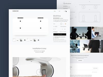 DeskView Shop Page shopify minimal grid clean lightweight typography type layout desktop ui web ux design