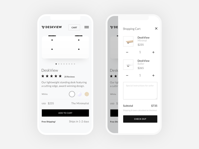 Shop DeskView On Mobile shopify mobile design mobile development mobile minimal grid clean lightweight typography type layout ui web ux design